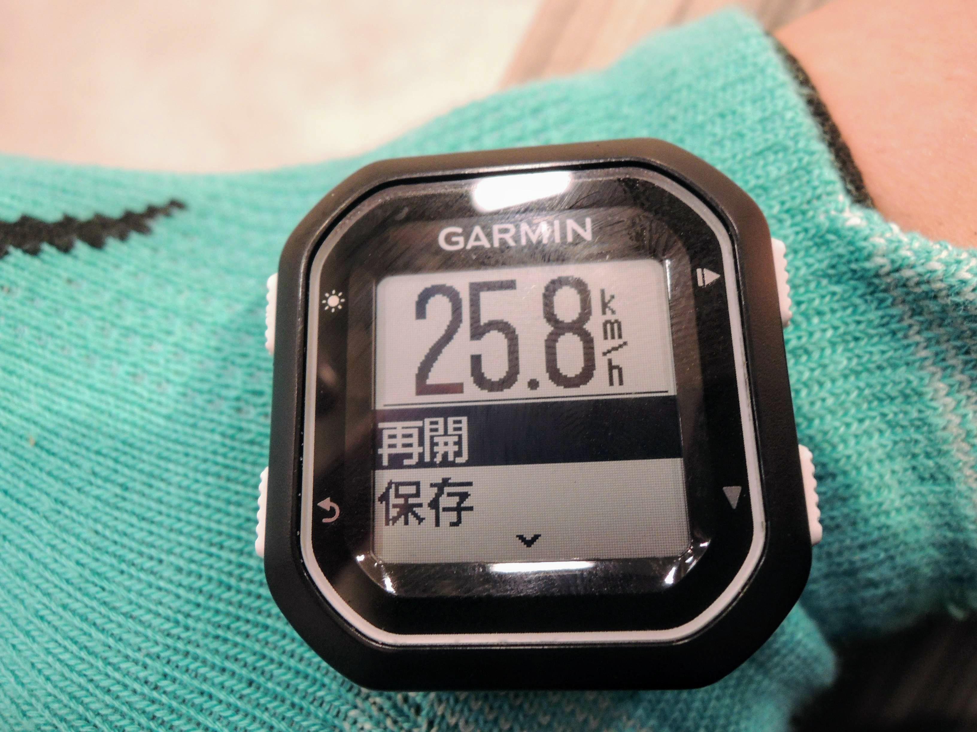 湘南藤沢の自転車ショップに帰還。サイコンの電池切れ寸前に確認したこの日の平均速度は25.8㎞/h。