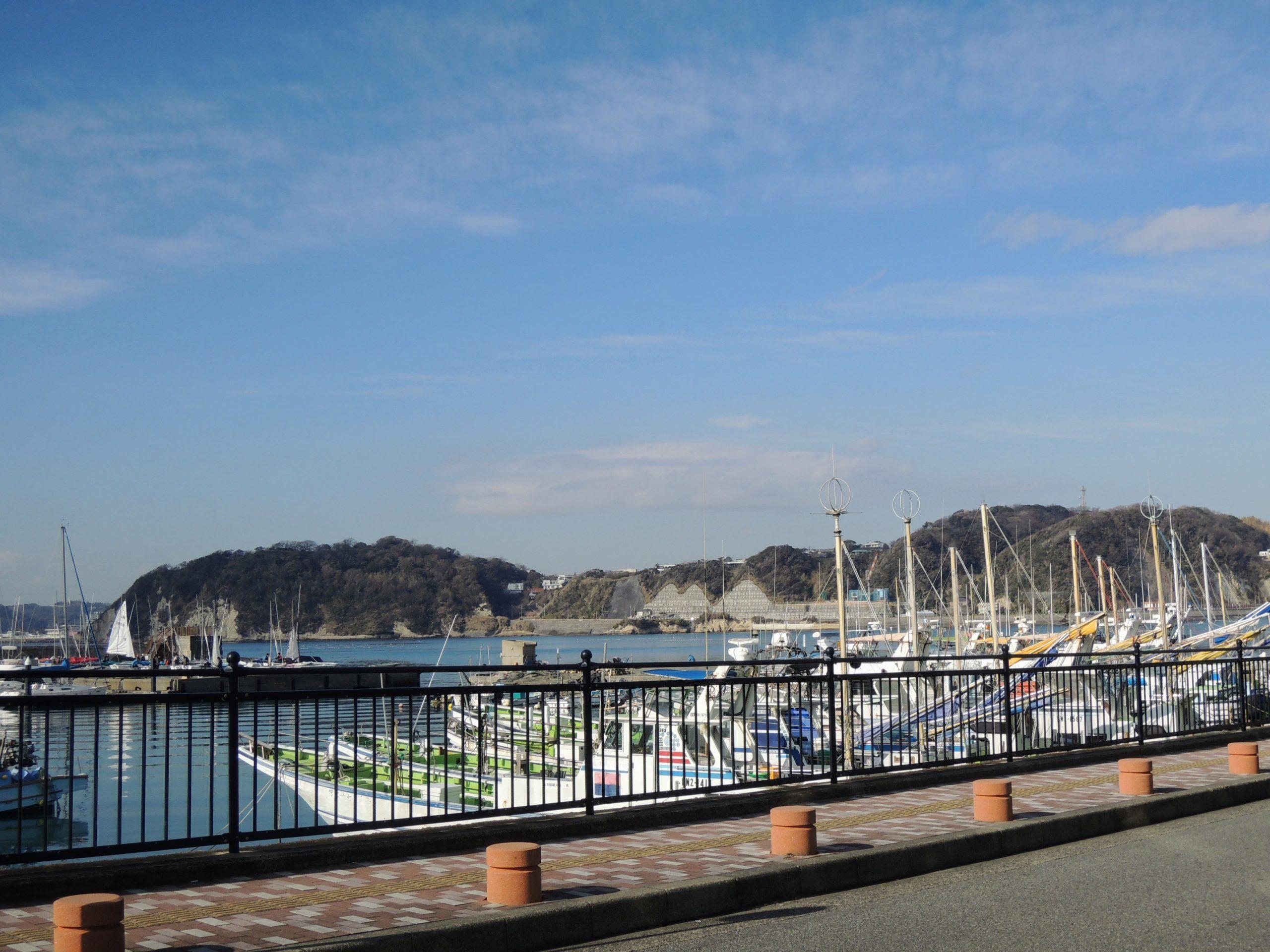 葉山の海と係留船