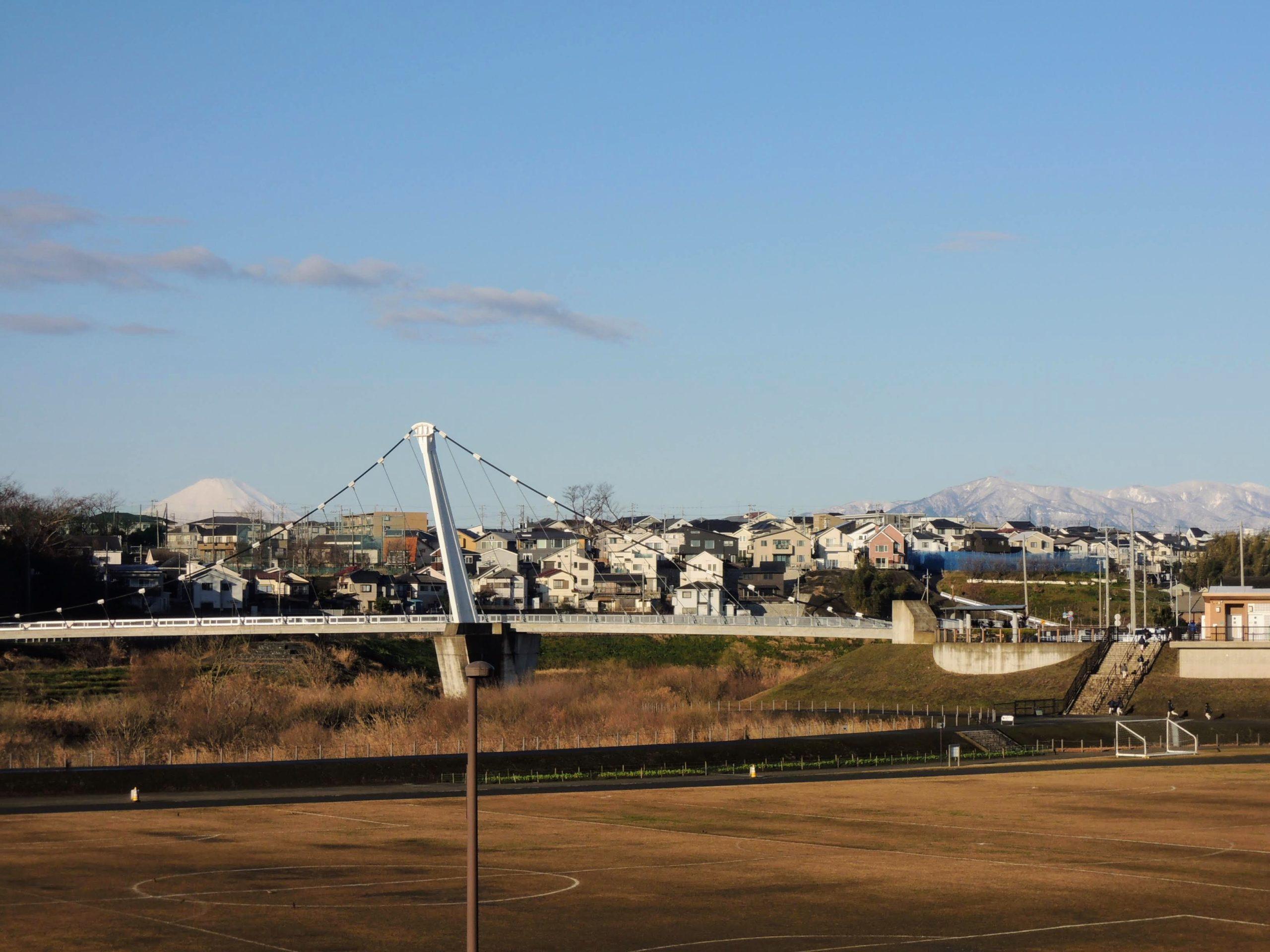 富士と鷺舞橋(遠景)